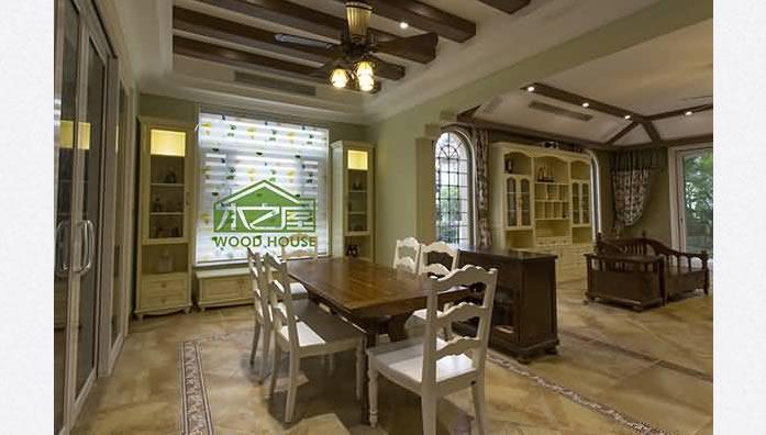 客厅餐桌椅组合-实木酒柜