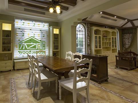 美式客厅餐桌椅_实木酒柜