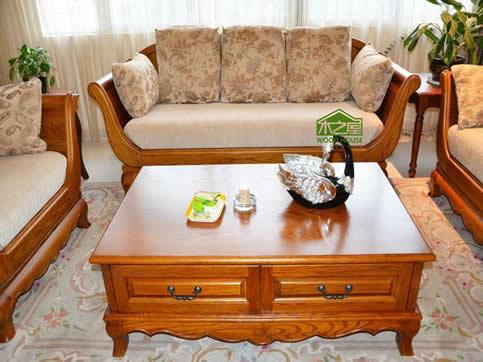 中式混搭实木定制沙发