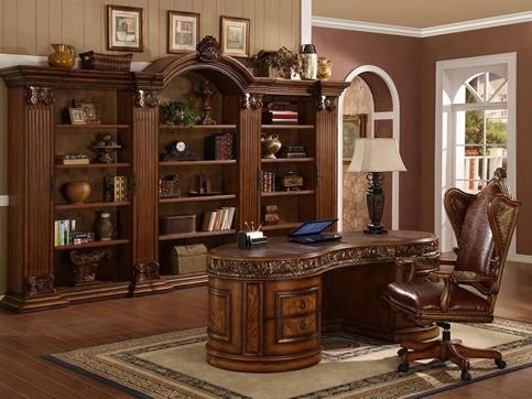 欧式古典原木家具书房